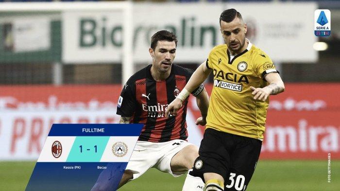 AC Milan Ditahan Imbang Udinesea 1-1 pada lanjutan Liga Italia, Kamis (4/3/2021) dini hari.