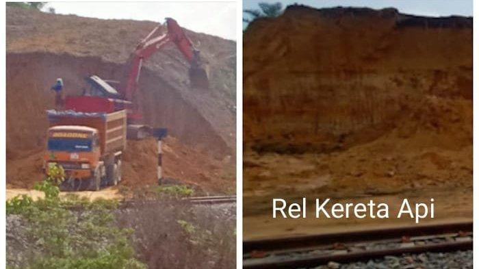 Galian Ilegal di Johar Lama, Langkat dan penampakan rel kereta api milik PT KAI.