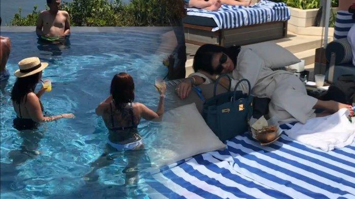 Istri Hotman Paris Hutapea, Agustianna Marbun, tertidur di tepi kolam renang Omnia Bali