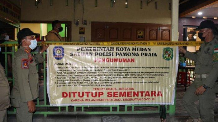 Tim Patroli Prokes dan PPKM Mikro Medan Segel Restoran di Jalan Sisingamangaraja