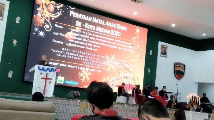 Anak Band se-Kota Medan rayakan Natal dengan menerapkan protokol kesehatan (prokes) di Gedung Balai Prajurit Kodam I/Bukit Barisan (BB), Rabu (16/12/2020).