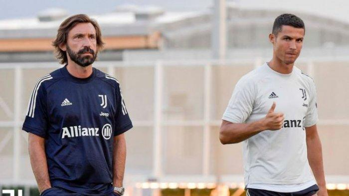 Andrea Pirlo dan Cristiano Ronaldo saat menjalani latihan pramusim Juventus yang dilaksanakan di Continassa pada Senin (24/8/2020) waktu setempat.
