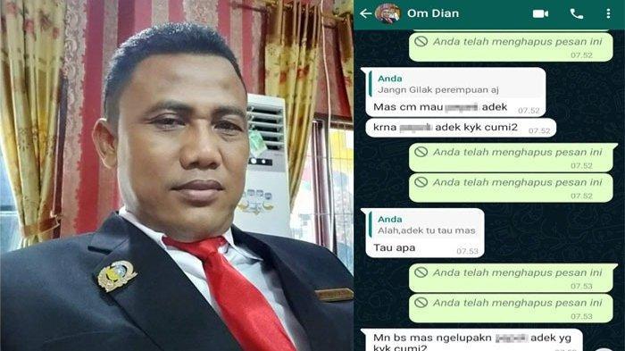 Anggota DPRD Batubara DS alias Om Dian beserta penggalan chatting di WA yang sempat didapati keluarga EP, adik ipar LA yang dituding selingkuh dengan Om Dian.(HO)