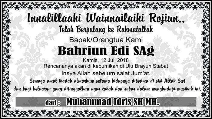 BERITA DUKACITA: Telah Berpulang ke Rahmatullah Bahriun Edi SAg