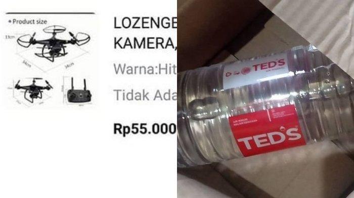Viral Video seorang wanita dapat air mineral dari toko online, padahal beli drone.
