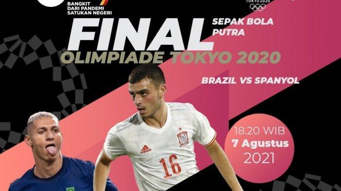 Jam tayang final Sepak Bola Olimpiade Tokyo 2020 Brasil vs Spanyol malam ini live TVRI