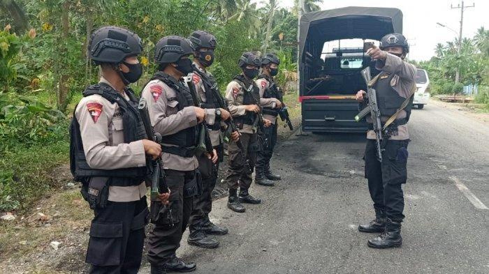 Pascabentrok Antar Desa di Tapanuli Selatan, Personel Brimob Ikut Lakukan Pengamanan