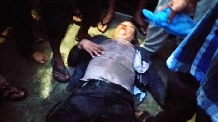 Bripka Joko Albari, anggota Polres Pelabuhan Belawan sekarat saat diamuk massa karena tertangkap tangan merampok, Kamis (22/7/2021) petang.(TRIBUN MEDAN/INDRA GUNAWAN)
