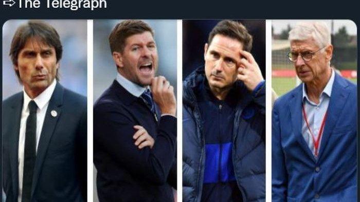 Calon pelatih baru Newcastle United (dari kiri ke kanan): Antonio Conte, Steven Gerrard, Frank Lampard, Arsene Wenger.