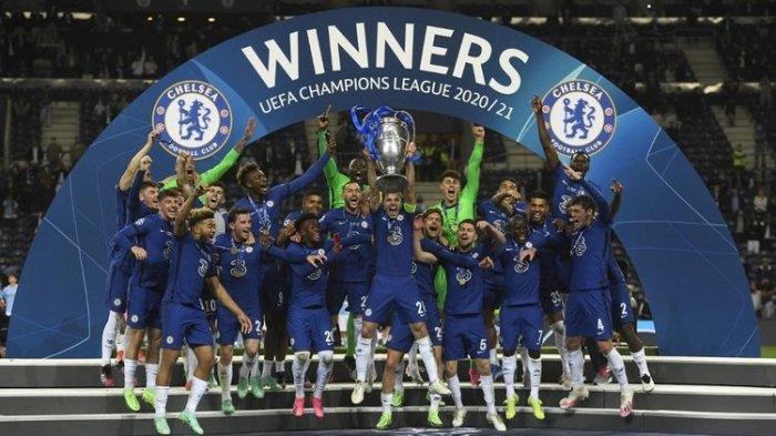Selebrasi para pemain Chelsea setelah menjuarai Liga Champions 2020-2021 dengan mengalahkan Man City di Stadion Dragao, Porto, pada Minggu (30/5/2021) dini harI WIB.