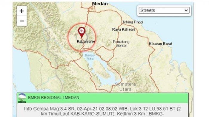 Kabupaten Karo Diguncang Gempa, Getaran Terasa Cukup Kuat di Berastagi dan Kabanjahe