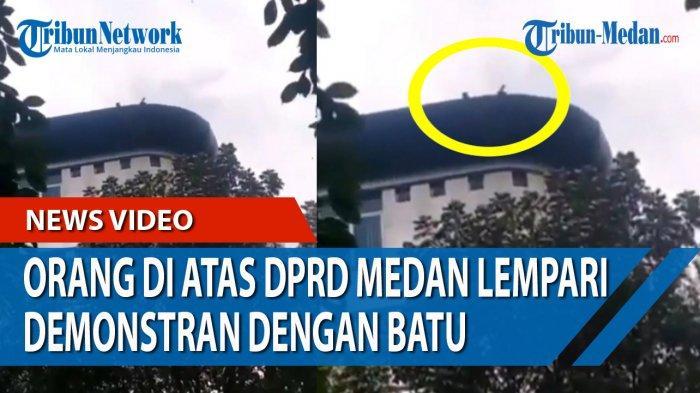 Pelempar Batu ke Demonstran Tolak Omnibus Law Ternyata Satpam DPRD Medan