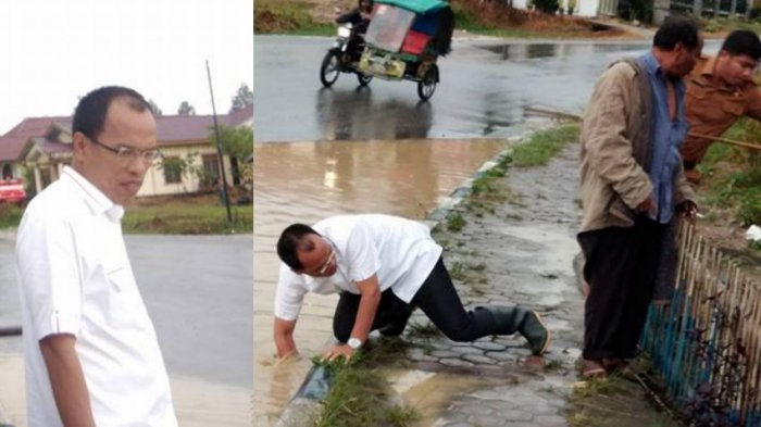 Bupati Humbahas Korek Saluran Air Sumbat di Pinggir Jalan, Netizen Malah Singgung Soal Jagung