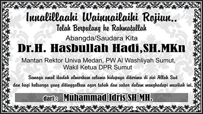 BERITA DUKACITA: Telah Berpulang ke Rahmatullah Dr H Hasbullah Hadi SH MKn