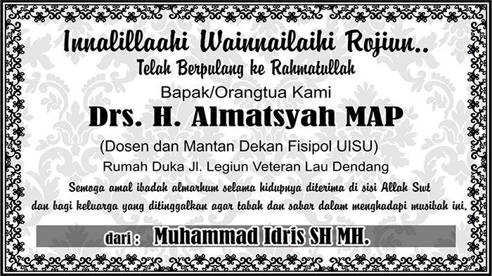 BERITA DUKACITA: Telah Berpulang ke Rahmatullah Drs H Almatsyah MAP