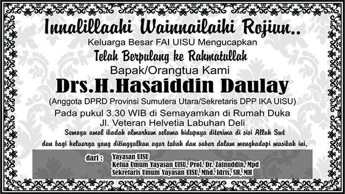 BERITA DUKACITA: Telah Berpulang ke Rahmatullah Hasaiddin Daulay