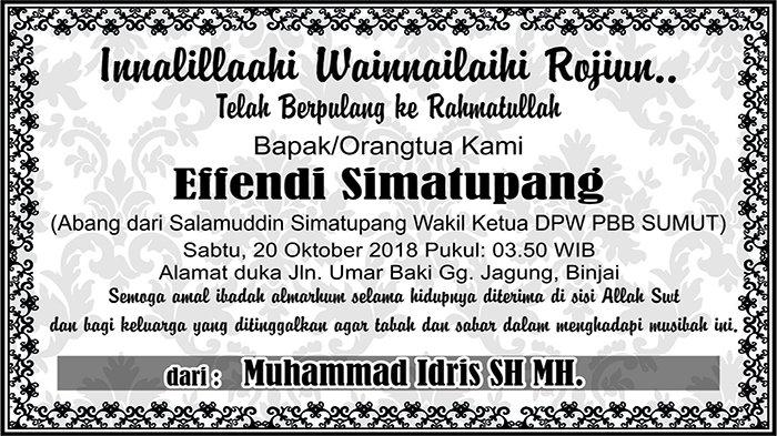 BERITA DUKACITA: Telah Berpulang ke Rahmatullah Effendi Simatupang