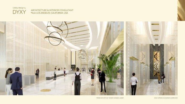 Facade kaca pada pintu masuk lobby Premium Office Tower memberikan penerangan yang maksimal dan balutan marmer import menancapkan citra sebagai perkantoran premium di kota Medan.