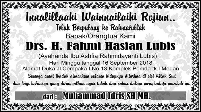 BERITA DUKACITA: Telah Berpulang ke Rahmatullah Fahmi Hasian Lubis