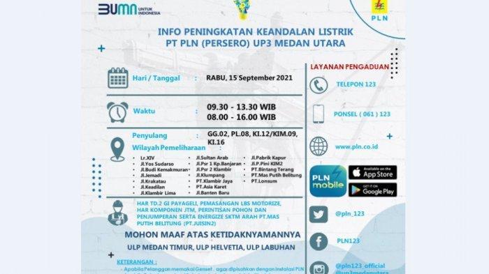 INFO Pemeliharaan Listrik di Medan, Berikut 19 Lokasi yang Akan Dipadamkan Hari Ini