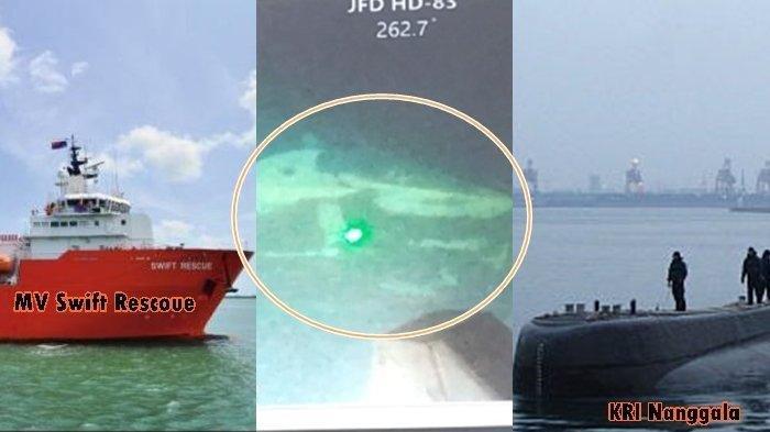 Foto penampakan KRI Nanggala dari Citra Kamera MV Swift Rescue, Senin (26/4/2021), Insert KRI Nanggala beberapa waktu lalu