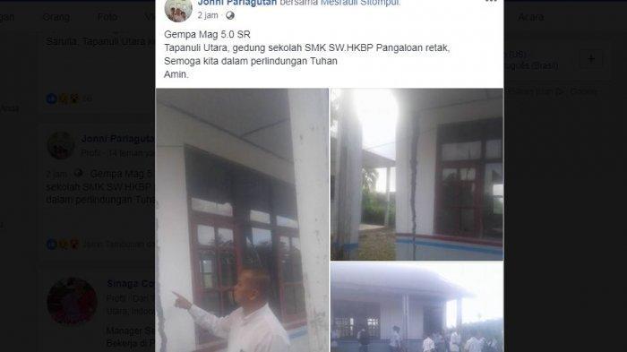 UPDATE GEMPA TARUTUNG, Gedung SMK HKBP Pangaloan Retak, Guncangan di Sibolga dan Tapsel