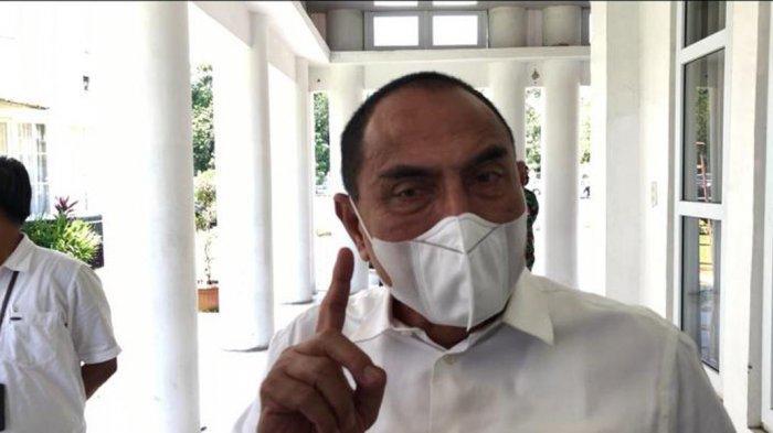 GUBERNUR Sumatera Utara Edy Rahmayadi ditemui usai mengikuti rapat pembahasan UU Cipta Kerja, secara virtual dengan Menteri Dalam Negeri Tito Karnavian, di Rumah Dinas, Jalan Sudirman, Kota Medan, Rabu (14/10/2020).