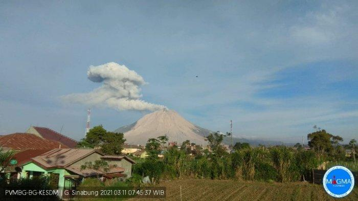 Gunung Sinabung Erupsi Lagi, Pagi Ini Dua Kali Terpantau Semburkan Debu
