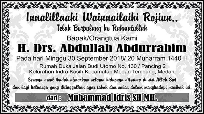 BERITA DUKACITA: Telah Berpulang ke Rahmatullah H. Drs. Abdullah Abdurrahim