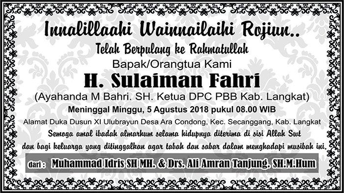 BERITA DUKACITA: Telah Berpulang ke Rahmatullah H Sulaiman Fahri