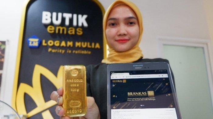 Harga emas Antam yang tersedia di Butik emas logam mulia Semarang Rukan Pemuda Mas, Blok A7 Jl. Pemuda no. 150 Semarang, Kamis (12/9/2019). (Tribun Jateng/Desta)