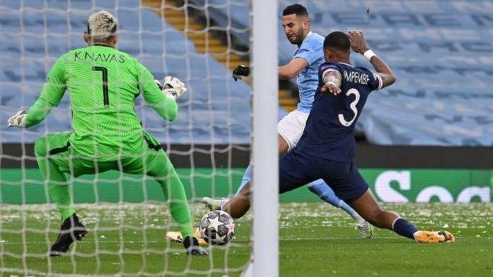 Hasil Liga Champions Manchester City vs PSG, Riyad Mahrez mencetak gol ke gawang PSG di Menit ke-11 dan 63