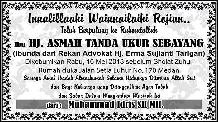 BERITA DUKACITA: Telah Berpulang ke Rahmatullah Hj Asmah Tanda Ukur Sebayang