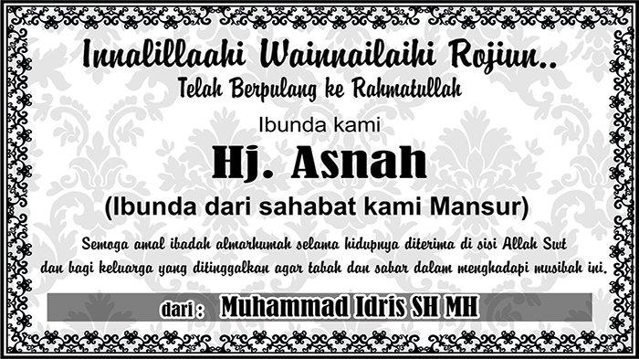 BERITA DUKACITA: Telah Berpulang ke Rahmatullah Hj Asnah