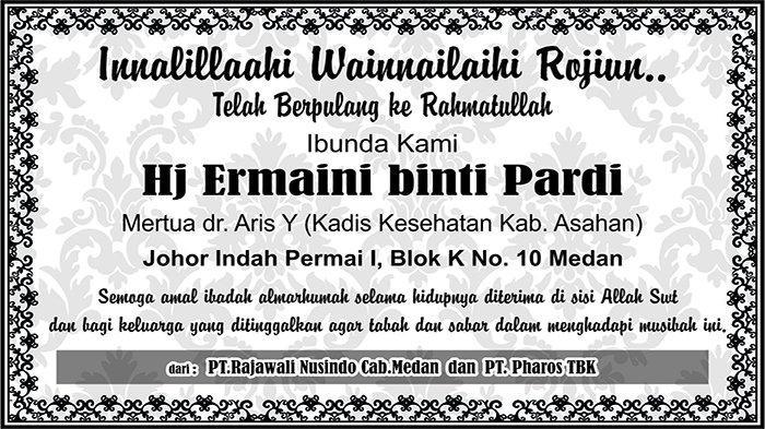BERITA DUKACITA: Telah Berpulang ke Rahmatullah Hj Ermaini binti Pardi
