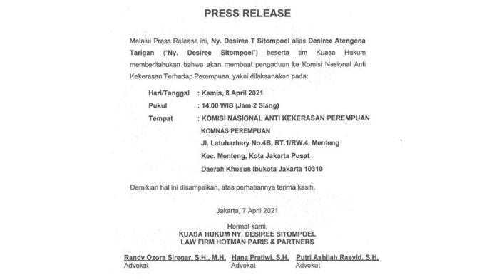 Press Release dari Hotman Paris