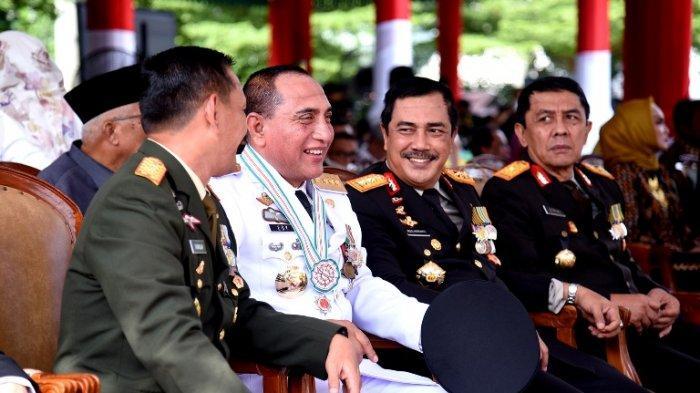 Gubernur, Pangdam, Kapolda dan Kajati Sumut Berbincang Kompak saat HUT Bhayangkara