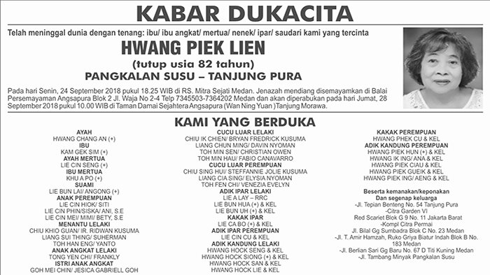 BERITA DUKACITA: Telah Meninggal dengan Tenang Hwang Piek Lien