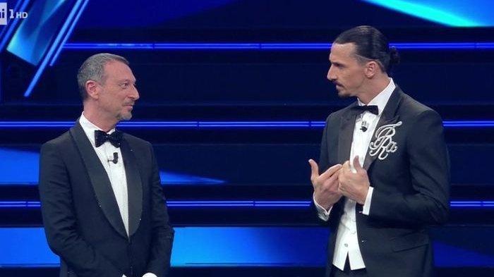 Striker AC Milan, Zlatan Ibrahimovic tampil perdana di acara Festival Musik Sanremo pada Selasa (2/3/2021).