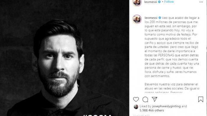 Bintang Barcelona Lionel Messi mendukung kampanye boikot media sosial, khususnya Facebook dan Instagram, setelah platform tersebut digunakan untuk melakukan diskriminasi ras. (@leomessi)