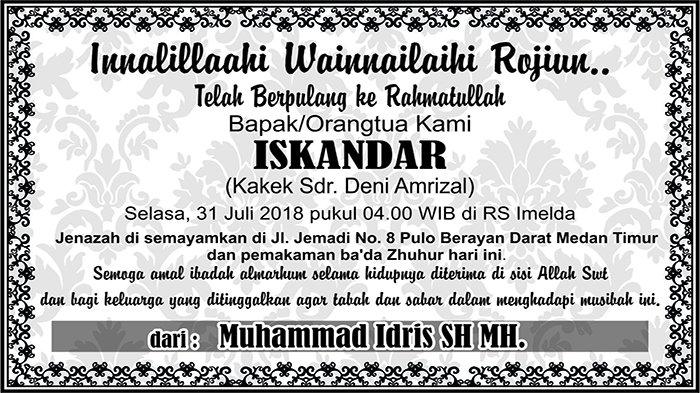 BERITA DUKACITA: Telah Berpulang ke Rahmatullah Iskandar