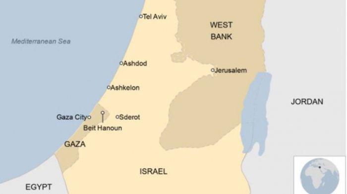 Peta Jalur Gaza yang dikuasai Hamas