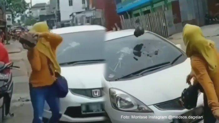 Tatkala Istri Menangkap Basah Suami dengan Perempuan Lain, Batu Besar Dilemparkan ke Kaca Mobil