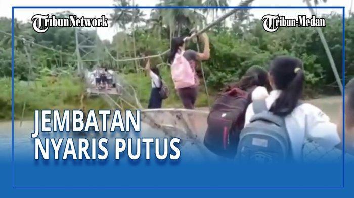 Pelajar di Sumut Bertaruh Nyawa Demi Bisa Sekolah, Bergelantungan di Jembatan yang Nyaris Putus