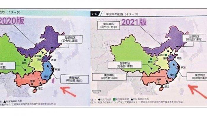 Peta baru Jepang (kanan) yang tidak memasukkan Taiwan bagian China