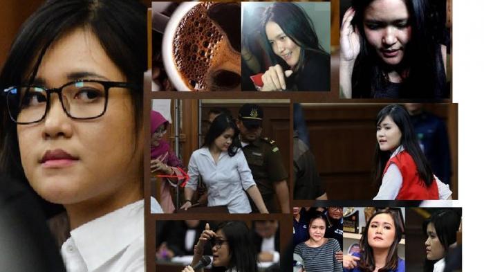 Ekspresi Jessica Kumala Wongso dalam berbagai persidangan kasus kopi bersianida yang menewaskan Wayan Mirna Salihin. (Istimewa/ Tribunnews.com)