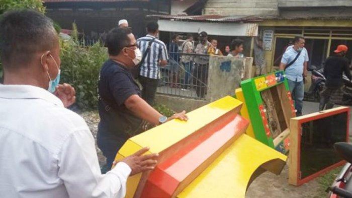 Polisi Gerebek Sejumlah Lapak Judi di Desa Helvetia, Mesin Diangkut Pakai Truk Sampah