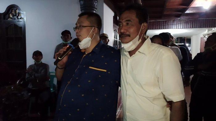 Juliadi didampingi Calon Wakilnya, Amir Hamzah memberikan pernyataan seusai mendapat hasil perolehan suara yang dilakukan tim  pemenangan di lima kecamatan di Kota Binjai, Rabu (9/12/2020)