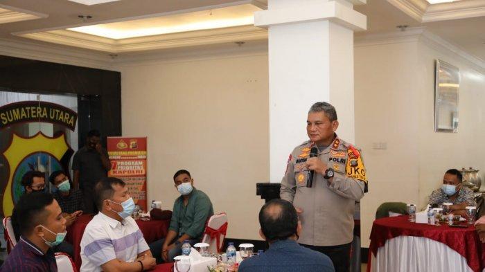 Kapolda Sumut Irjen Pol Martuani Sormin saat gelar pertemuan dengan wartawan, di Mapolda, Jalan Sisingamangaraja, Kota Medan, Selasa (22/12/2020).
