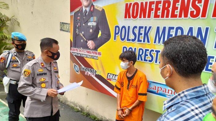 Kapolsek Medan Timur Kompol M Arifin memaparkan kasus pencurian yang terjadi di RSUD Dr Pirngadi Medan, Selasa (4/5/2021).